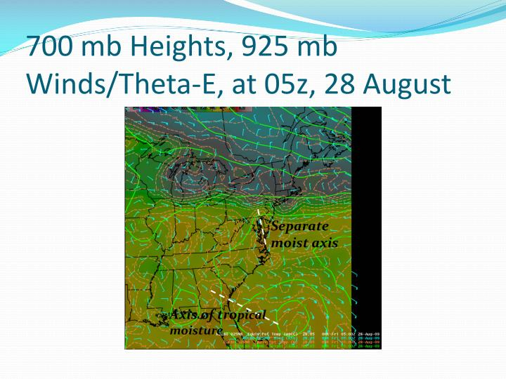 700 mb Heights, 925 mb Winds/Theta-E, at 05z, 28 August