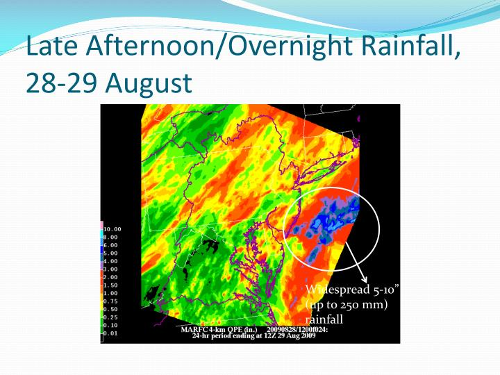Late Afternoon/Overnight Rainfall, 28-29 August