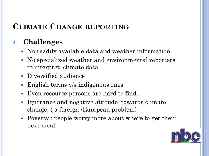 Climate Change reporting