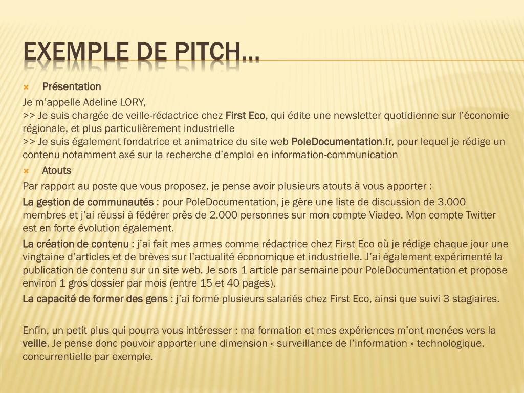Ppt Le Pitch Ou Elevator Pitch Powerpoint