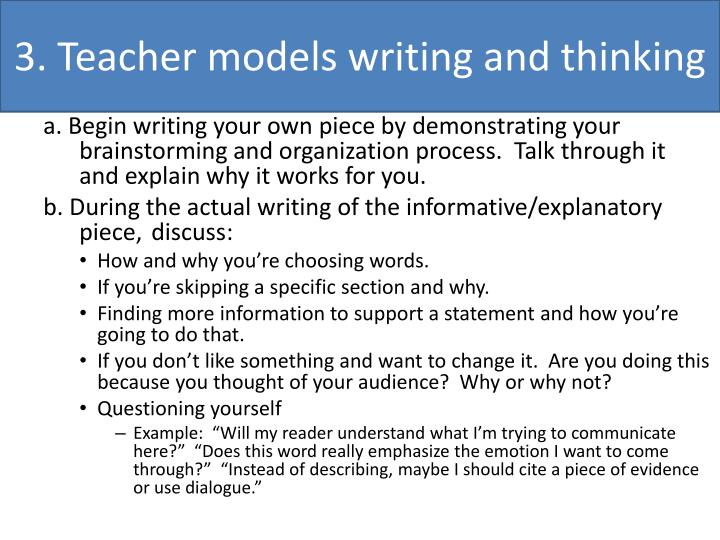 3. Teacher models writing and thinking