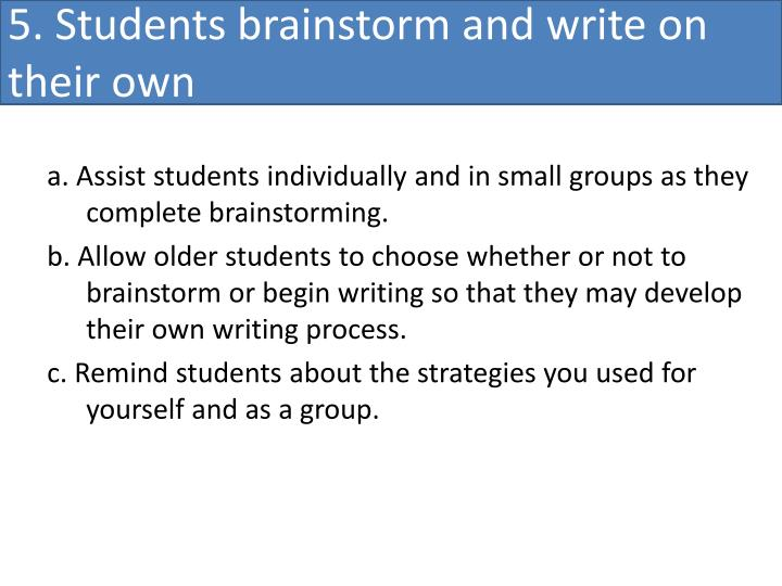 5. Students brainstorm and write on their own