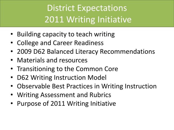 District expectations 2011 writing initiative