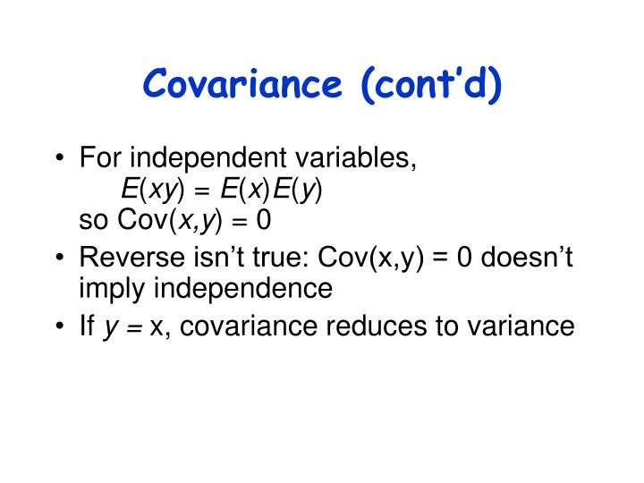 Covariance (cont'd)