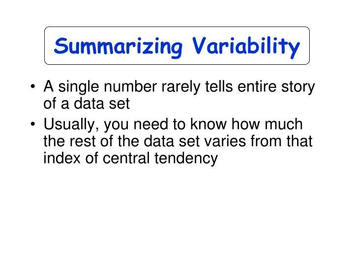 Summarizing Variability