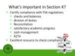 what s important in section k