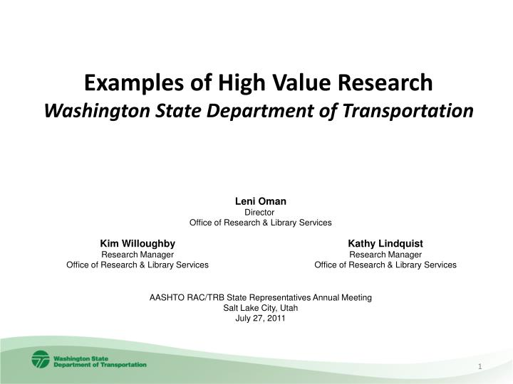 PPT - Examples of High Value Research Washington State