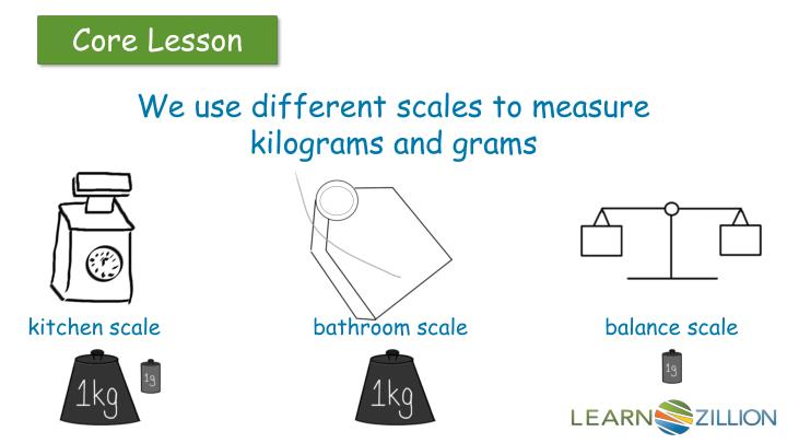 We use different scales to measure kilograms and grams