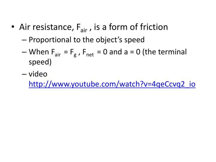 Air resistance, F