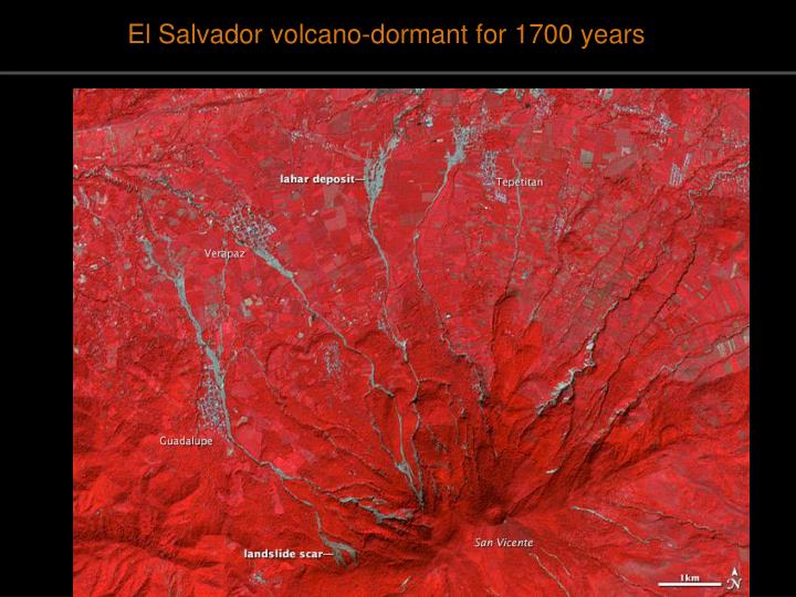 El Salvador volcano-dormant for 1700 years