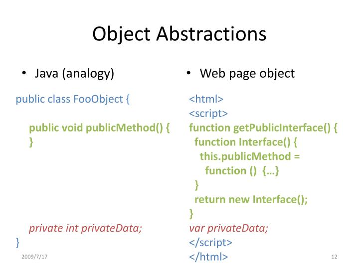 Object Abstractions