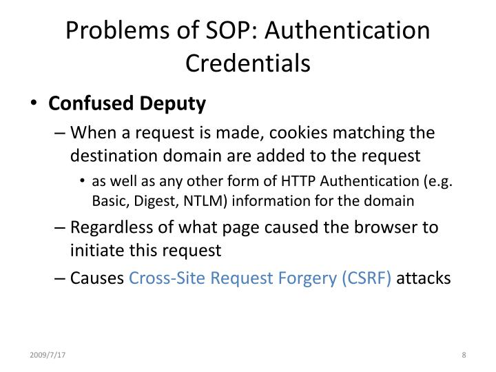 Problems of SOP: Authentication Credentials