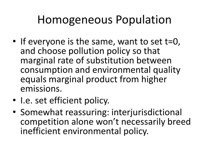 Homogeneous Population