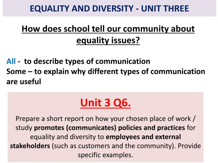 equality and diversity 9 essay Approaching the diversity essay question why does diversity matter the more diverse perspectives found in the classroom, throughout the dorms, in the dining halls, and mixed into study groups, the richer the discussions will be and the more creative the teams will become.
