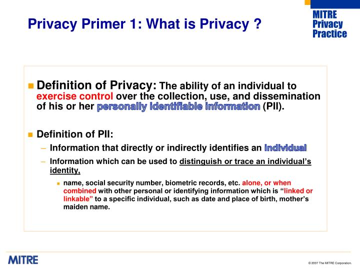 Privacy primer 1 what is privacy