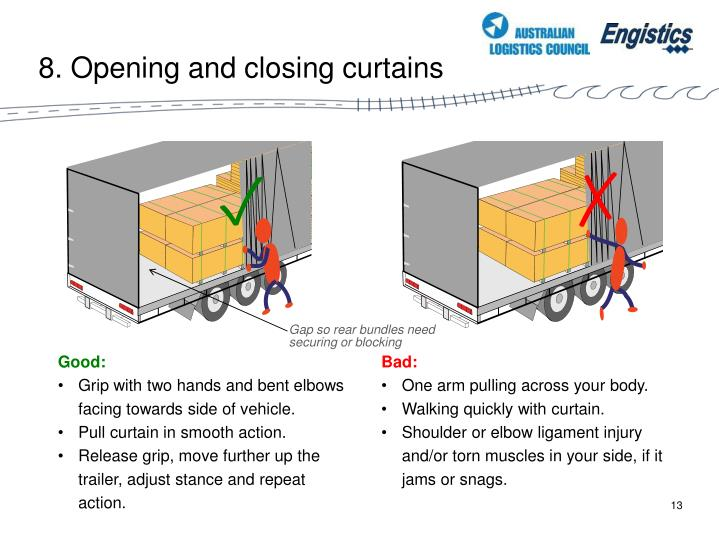 8. Opening and closing curtains
