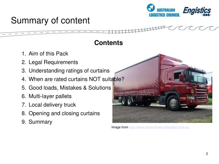 Summary of content