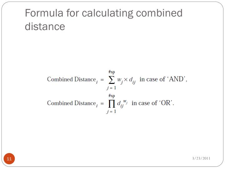 Formula for calculating combined distance