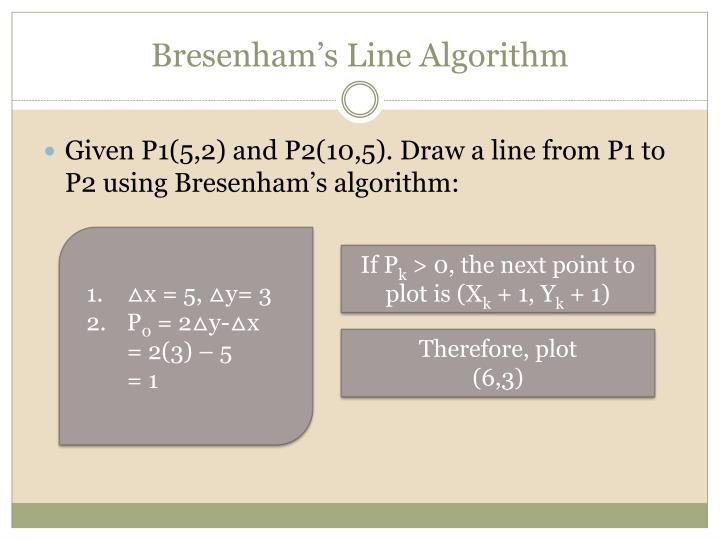 Bresenham Line Drawing Algorithm Steps : Ppt cgmb introduction to computer graphics