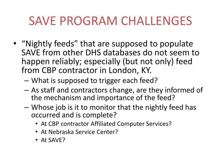 Save program challenges