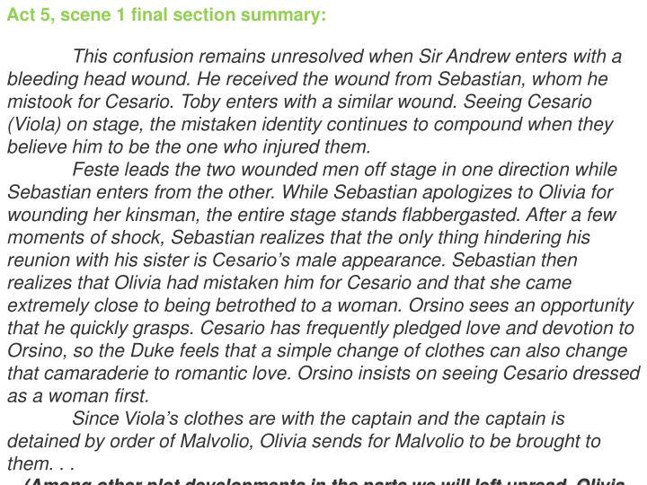 Act 5, scene 1 final section summary: