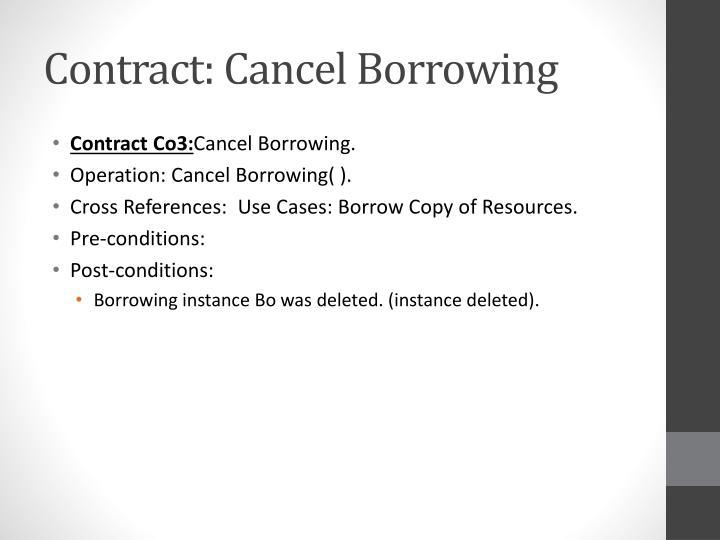 Contract: Cancel Borrowing