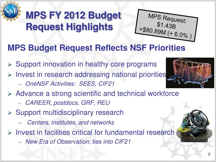 Mps fy 2012 budget request highlights