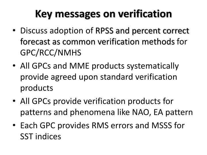 Key messages on verification