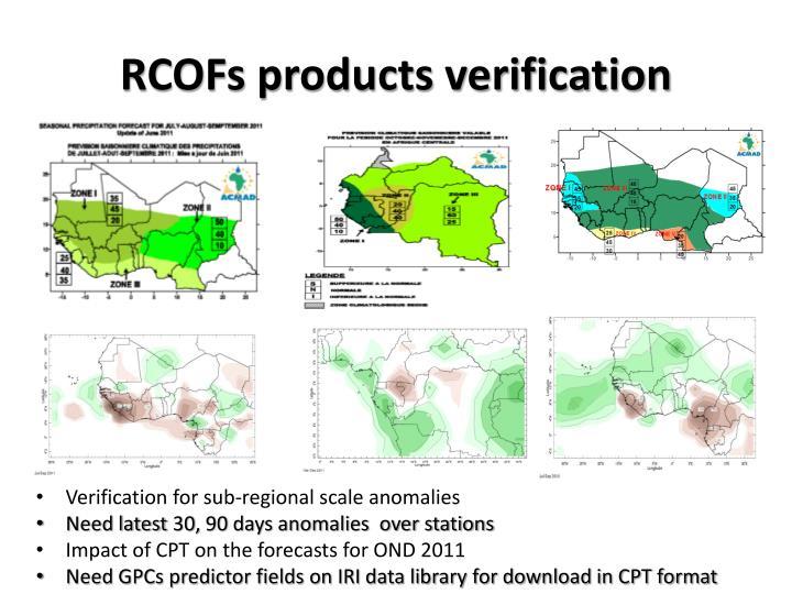 RCOFs products verification