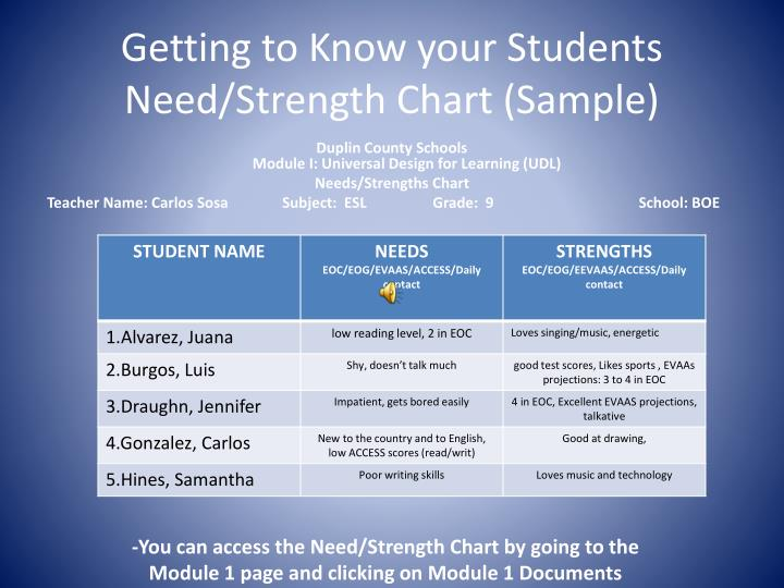 Getting to Know your Students Need/Strength Chart (Sample)