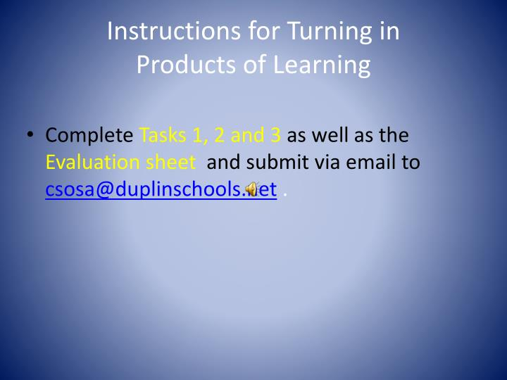 Instructions for Turning in