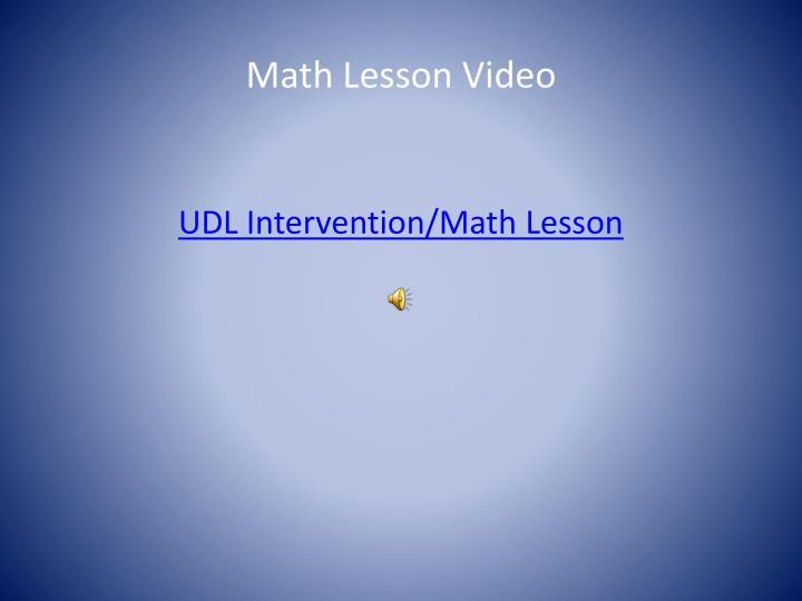 Math Lesson Video