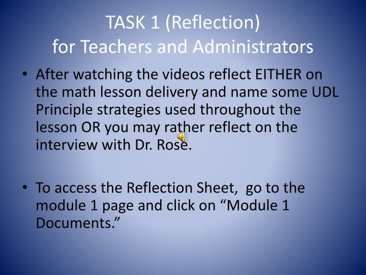 TASK 1 (Reflection)