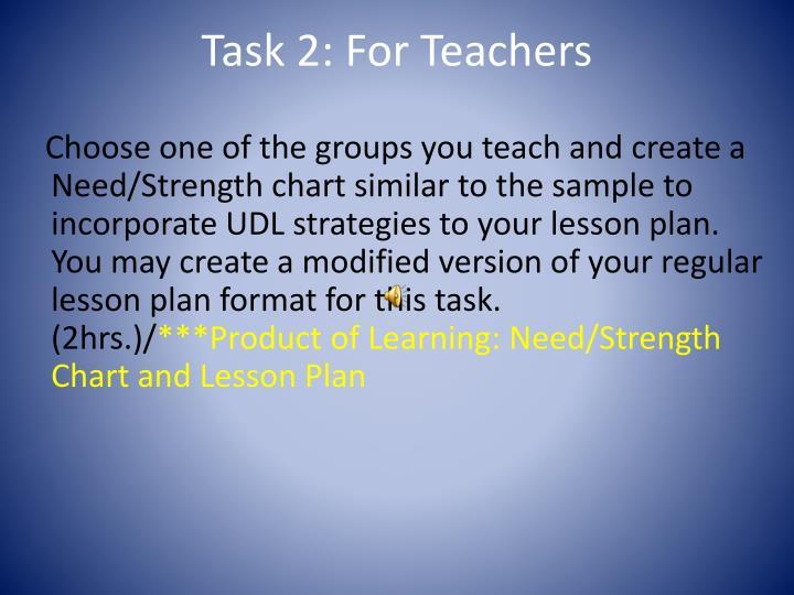 Task 2: For Teachers