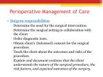 perioperative management of care