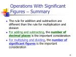 operations with significant figures summary