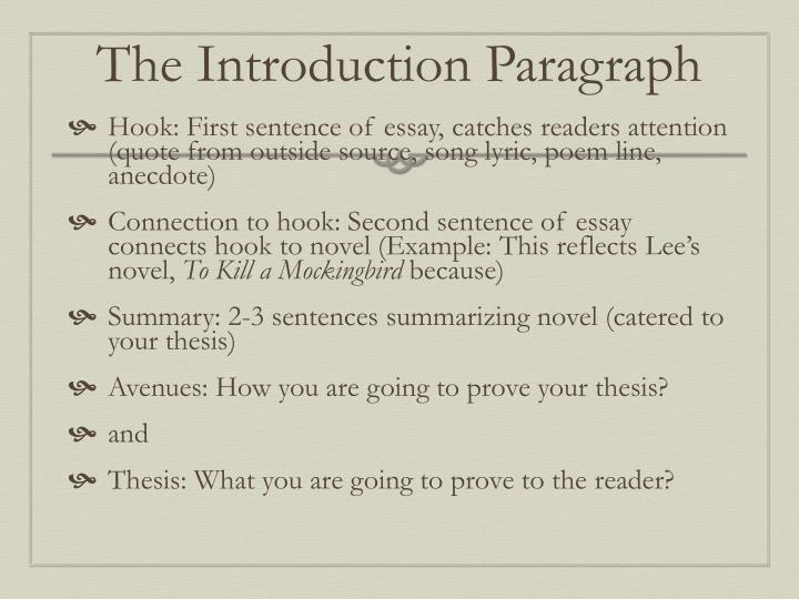 introductory paragraph hook thesis An introductory paragraph is the most important part of an essay or piece of writing because it needs to make writing a great first paragraph strong thesis statements an introductory paragraph, as the opening of a conventional essay, composition, or report, is designed to grab people's attention.