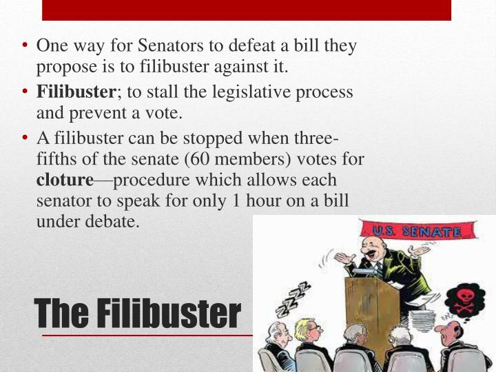One way for Senators to defeat a bill they propose is to filibuster against it.