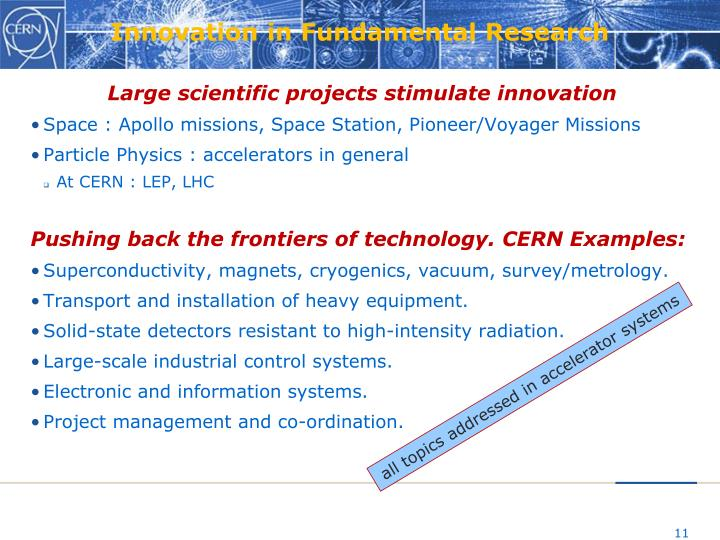 Innovation in Fundamental Research