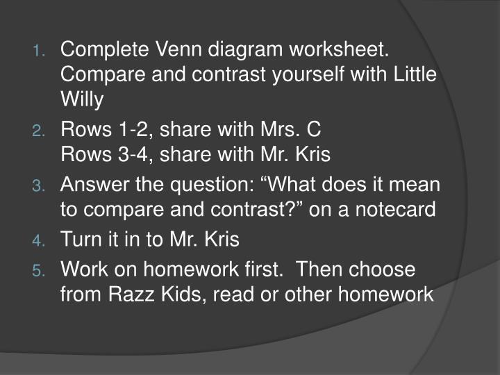 Complete Venn diagram worksheet.