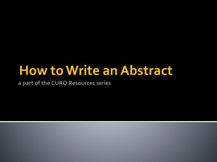 how to write an abstract n.