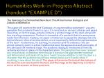 humanities work in progress abstract handout example d