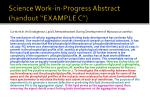 science work in progress abstract handout example c
