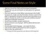some final notes on style