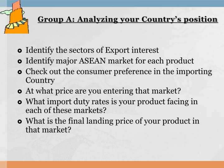 Group a analyzing your country s position