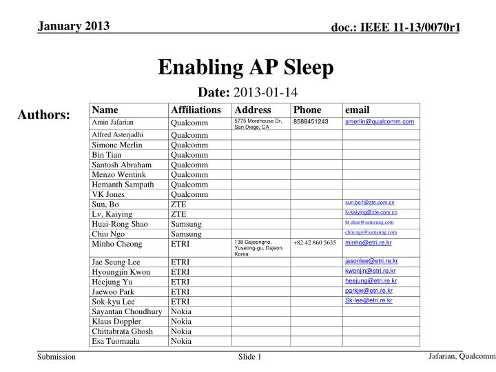 Enabling ap sleep