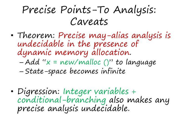Precise Points-To Analysis: Caveats