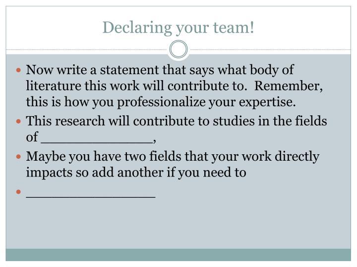 Declaring your team!