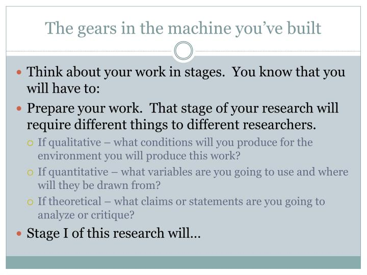 The gears in the machine you've built