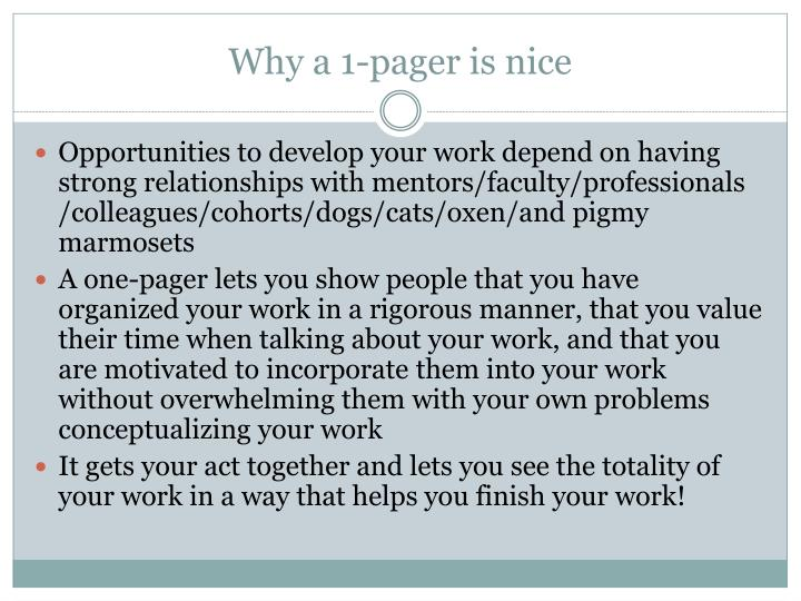 Why a 1 pager is nice